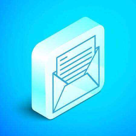 Isometric line Mail and e-mail icon isolated on blue background. Envelope symbol e-mail. Email message sign. Silver square button. Vector Illustration Illusztráció