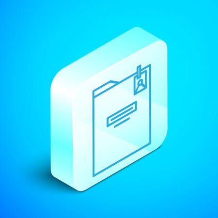 Isometric line Personal folder icon isolated on blue background. Silver square button. Vector Illustration Standard-Bild - 133853669
