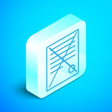 Isometric line Delete file document icon isolated on blue background. Rejected document icon. Cross on paper. Silver square button. Vector Illustration Çizim