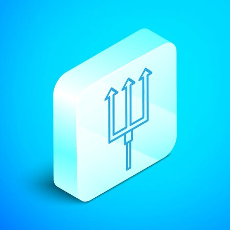 Isometric line Neptune Trident icon isolated on blue background. Silver square button. Vector Illustration
