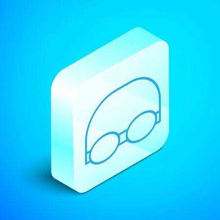 Isometric line Glasses and cap for swimming icon isolated on blue background. Swimming cap and goggles. Diving underwater equipment. Silver square button. Vector Illustration 일러스트