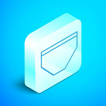 Isometric line Swimming trunks icon isolated on blue background. Silver square button. Vector Illustration
