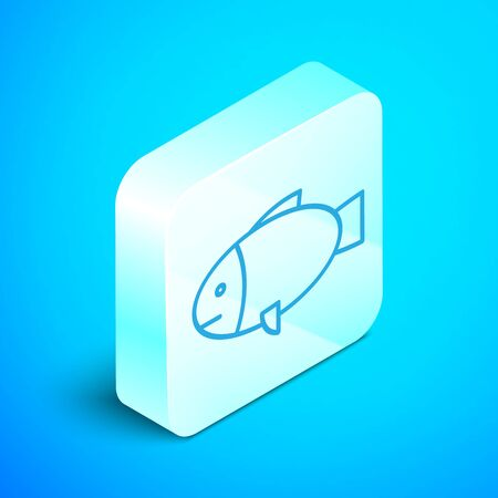 Isometric line Fish icon isolated on blue background. Silver square button. Vector Illustration Ilustracja