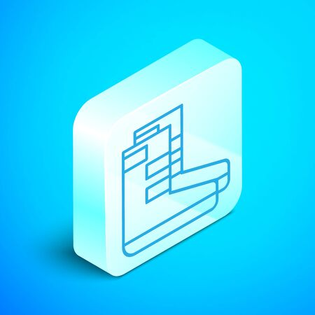 Isometric line Boots icon isolated on blue background. Diving underwater equipment. Silver square button. Vector Illustration Standard-Bild - 133853822