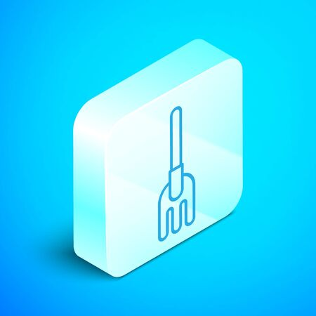 Isometric line Garden rake icon isolated on blue background. Tool for horticulture, agriculture, farming. Ground cultivator. Housekeeping equipment. Silver square button. Vector Illustration Stok Fotoğraf - 133853834