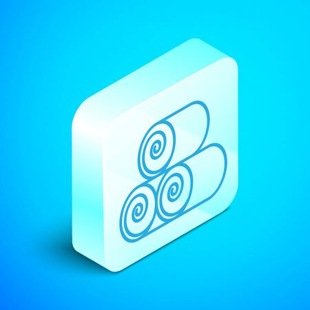 Isometric line Roll of hay icon isolated on blue background. Silver square button. Vector Illustration Stockfoto - 133853838