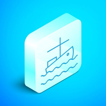 Isometric line Fishing boat on water icon isolated on blue background. Silver square button. Vector Illustration