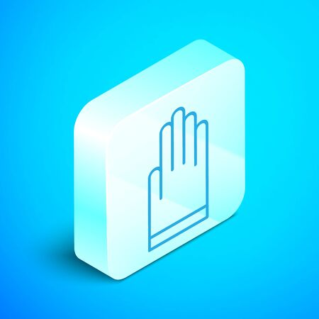 Isometric line Gloves icon isolated on blue background. Extreme sport. Diving underwater equipment. Silver square button. Vector Illustration Standard-Bild - 133853982