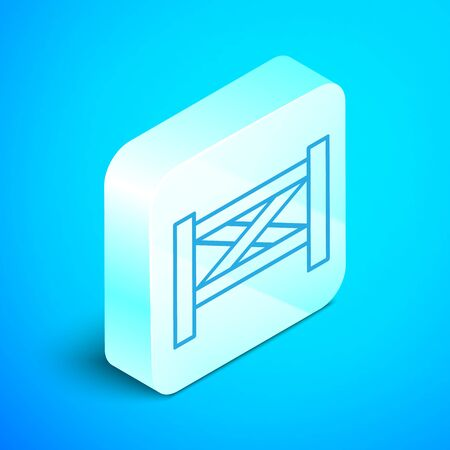 Isometric line Garden fence wooden icon isolated on blue background. Silver square button. Vector Illustration