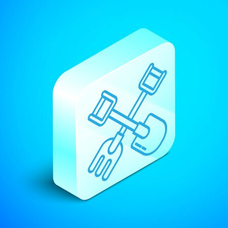 Isometric line Shovel and rake icon isolated on blue background. Tool for horticulture, agriculture, gardening, farming. Ground cultivator. Silver square button. Vector Illustration Stok Fotoğraf - 133854036