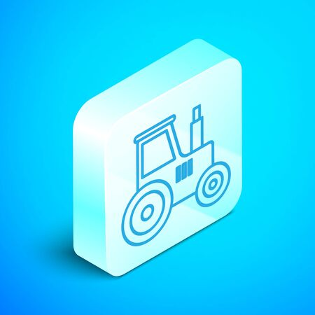 Isometric line Tractor icon isolated on blue background. Silver square button. Vector Illustration Standard-Bild - 133854037
