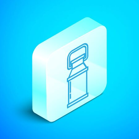 Isometric line Can container for milk icon isolated on blue background. Silver square button. Vector Illustration Stock Illustratie