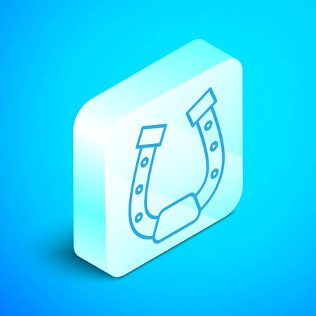 Isometric line Horseshoe icon isolated on blue background. Silver square button. Vector Illustration