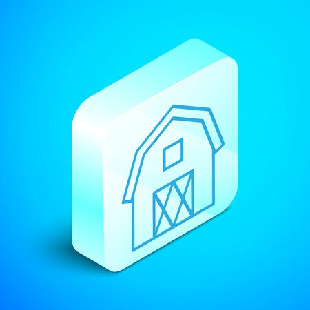 Isometric line Farm House concept icon isolated on blue background. Rustic farm landscape. Silver square button. Vector Illustration Stockfoto - 133854041