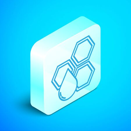 Isometric line Honeycomb icon isolated on blue background. Honey cells symbol. Sweet natural food. Silver square button. Vector Illustration