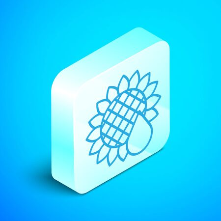 Isometric line Sunflower icon isolated on blue background. Silver square button. Vector Illustration Stock Illustratie