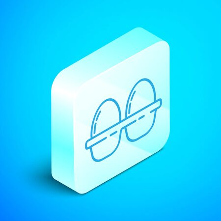Isometric line Chicken egg in box icon isolated on blue background. Silver square button. Vector Illustration