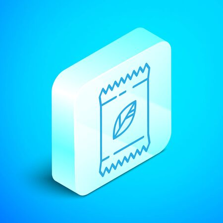 Isometric line A pack full of seeds of a specific plant icon isolated on blue background. Silver square button. Vector Illustration