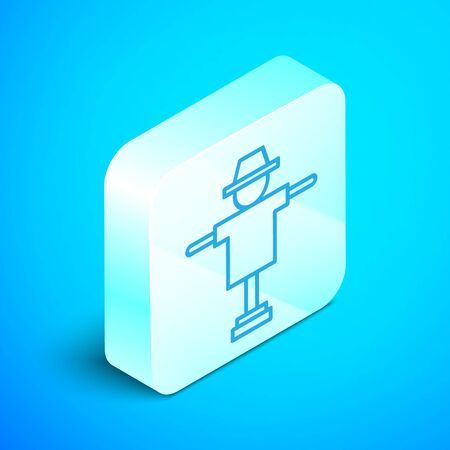 Isometric line Scarecrow icon isolated on blue background. Silver square button. Vector Illustration