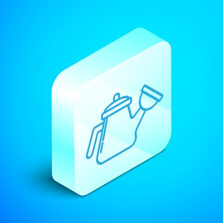 Isometric line Watering can icon isolated on blue background. Irrigation symbol. Silver square button. Vector Illustration Stock Illustratie