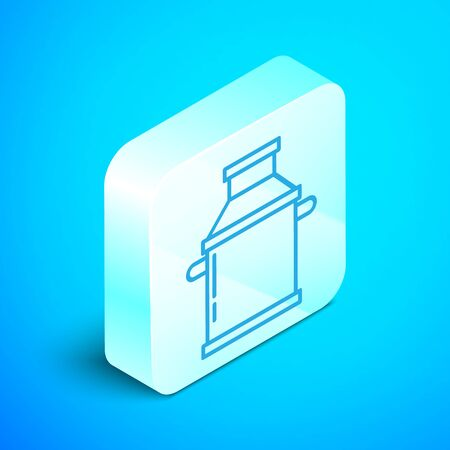 Isometric line Can container for milk icon isolated on blue background. Silver square button. Vector Illustration Ilustracja