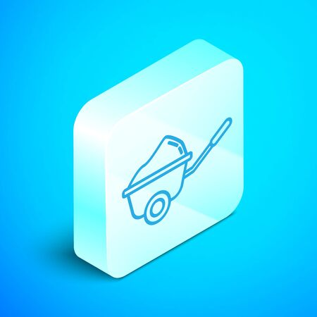 Isometric line Wheelbarrow with dirt icon isolated on blue background. Tool equipment. Agriculture cart wheel farm. Silver square button. Vector Illustration Stok Fotoğraf - 133854148