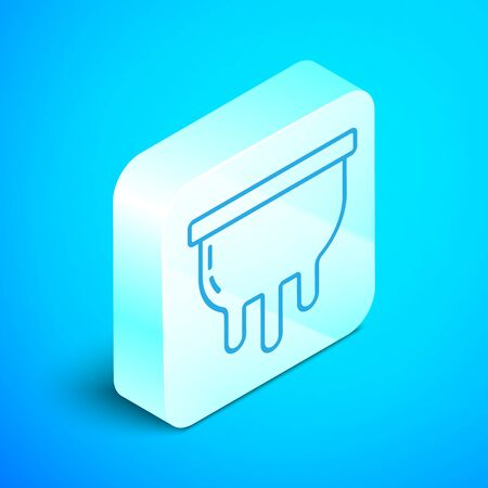 Isometric line Udder icon isolated on blue background. Silver square button. Vector Illustration Stok Fotoğraf - 133854151