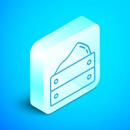 Isometric line Wooden box with harvest icon isolated on blue background. Silver square button. Vector Illustration