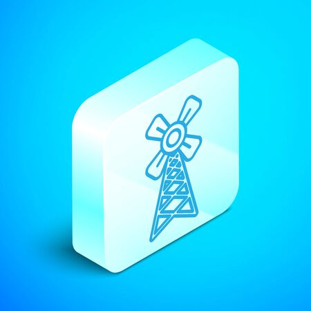 Isometric line Windmill icon isolated on blue background. Silver square button. Vector Illustration Zdjęcie Seryjne - 133854154