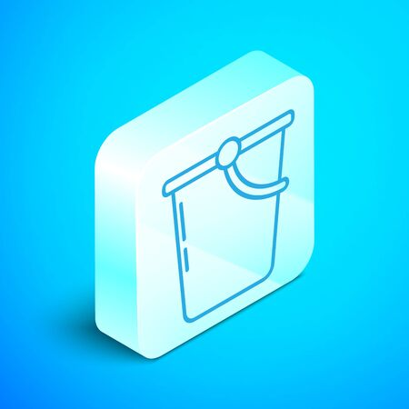 Isometric line Bucket icon isolated on blue background. Silver square button. Vector Illustration Zdjęcie Seryjne - 133854158