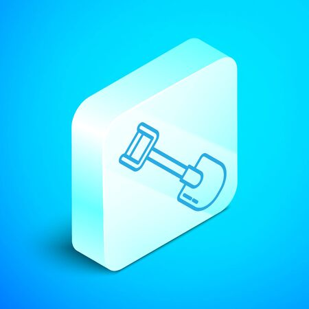 Isometric line Shovel icon isolated on blue background. Gardening tool. Tool for horticulture, agriculture, farming. Silver square button. Vector Illustration Stock Illustratie