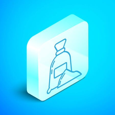 Isometric line Bag of flour icon isolated on blue background. Silver square button. Vector Illustration Stok Fotoğraf - 133854203