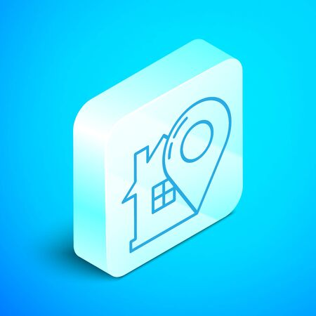 Isometric line Map pointer with house icon isolated on blue background. Home location marker symbol. Silver square button. Vector Illustration Stok Fotoğraf - 133854201