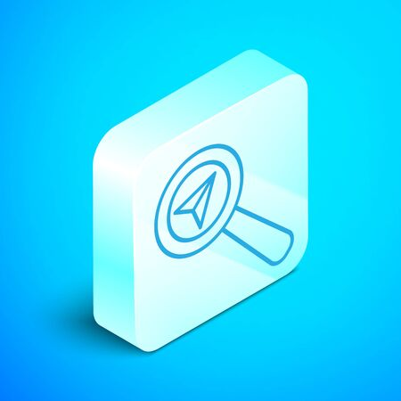 Isometric line Search location icon isolated on blue background. Magnifying glass with pointer sign. Silver square button. Vector Illustration Stok Fotoğraf - 133854208