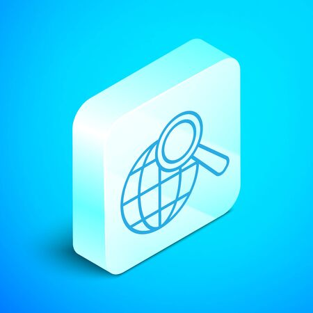 Isometric line Magnifying glass with globe icon isolated on blue background. Analyzing the world. Global search sign. Silver square button. Vector Illustration