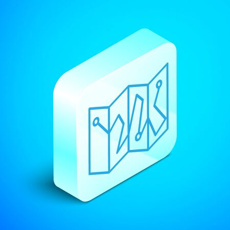 Isometric line Folded map with location marker icon isolated on blue background. Silver square button. Vector Illustration Zdjęcie Seryjne - 133854207