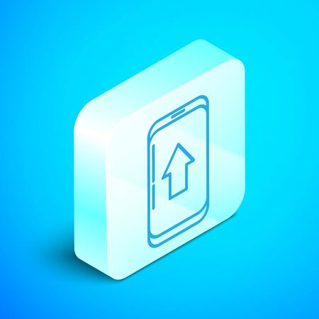 Isometric line Infographic of city map navigation icon isolated on blue background. Mobile App Interface concept design. Geolacation concept. Silver square button. Vector Illustration Stok Fotoğraf - 133854212