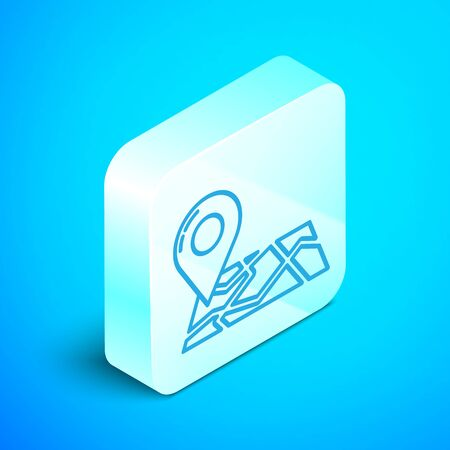 Isometric line Folded map with location marker icon isolated on blue background. Silver square button. Vector Illustration Zdjęcie Seryjne - 133854211