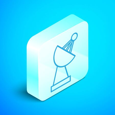 Isometric line Radar icon isolated on blue background. Search system. Satellite sign. Silver square button. Vector Illustration Zdjęcie Seryjne - 133854214