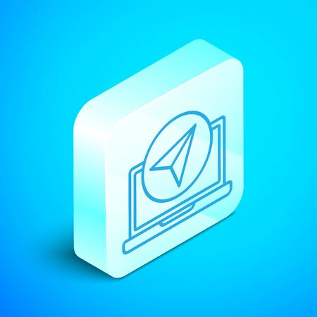 Isometric line Infographic of city map navigation icon isolated on blue background. Laptop App Interface concept design. Geolacation concept. Silver square button. Vector Illustration