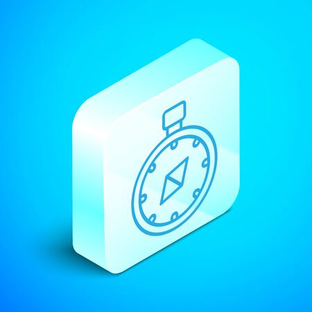 Isometric line Compass icon isolated on blue background. Windrose navigation symbol. Wind rose sign. Silver square button. Vector Illustration Stok Fotoğraf - 133854219