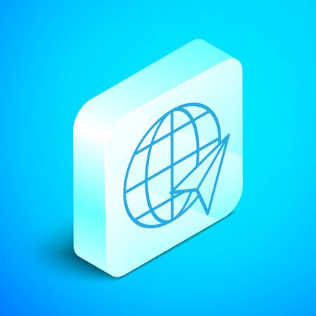 Isometric line Location on the globe icon isolated on blue background. World or Earth sign. Silver square button. Vector Illustration