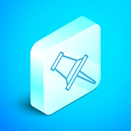 Isometric line Push pin icon isolated on blue background. Thumbtacks sign. Silver square button. Vector Illustration
