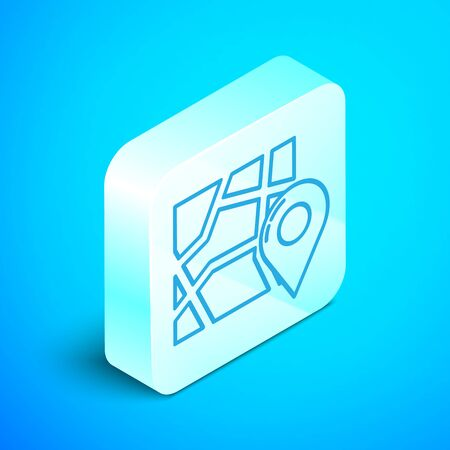 Isometric line Folded map with location marker icon isolated on blue background. Silver square button. Vector Illustration Stok Fotoğraf - 133854257