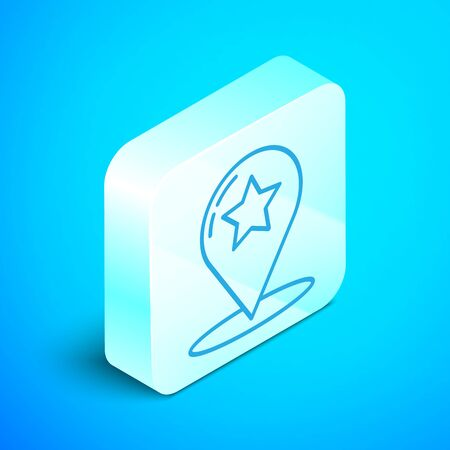 Isometric line Map pointer with star icon isolated on blue background. Star favorite pin map icon. Map markers. Silver square button. Vector Illustration