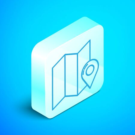 Isometric line Folded map with location marker icon isolated on blue background. Silver square button. Vector Illustration Stock Illustratie