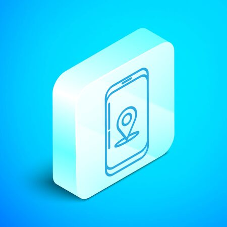 Isometric line Infographic of city map navigation icon isolated on blue background. Mobile App Interface concept design. Geolacation concept. Silver square button. Vector Illustration