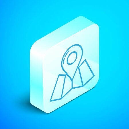 Isometric line Folded map with location marker icon isolated on blue background. Silver square button. Vector Illustration Stockfoto - 133854262