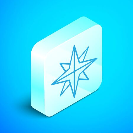 Isometric line Wind rose icon isolated on blue background. Compass icon for travel. Navigation design. Silver square button. Vector Illustration
