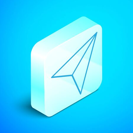 Isometric line Paper airplane icon isolated on blue background. Silver square button. Vector Illustration Stock Illustratie